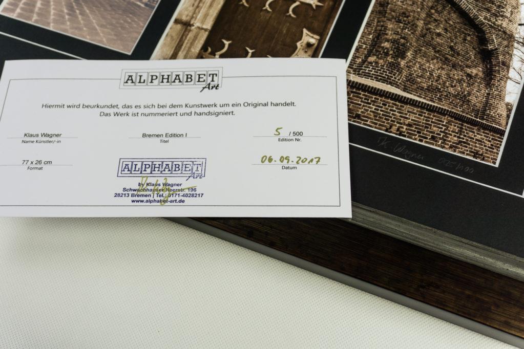 Bremen Edition 1. Limitierte und handsignierte Auflage. Zertifikat. Alphabet Art by Klaus Wagner